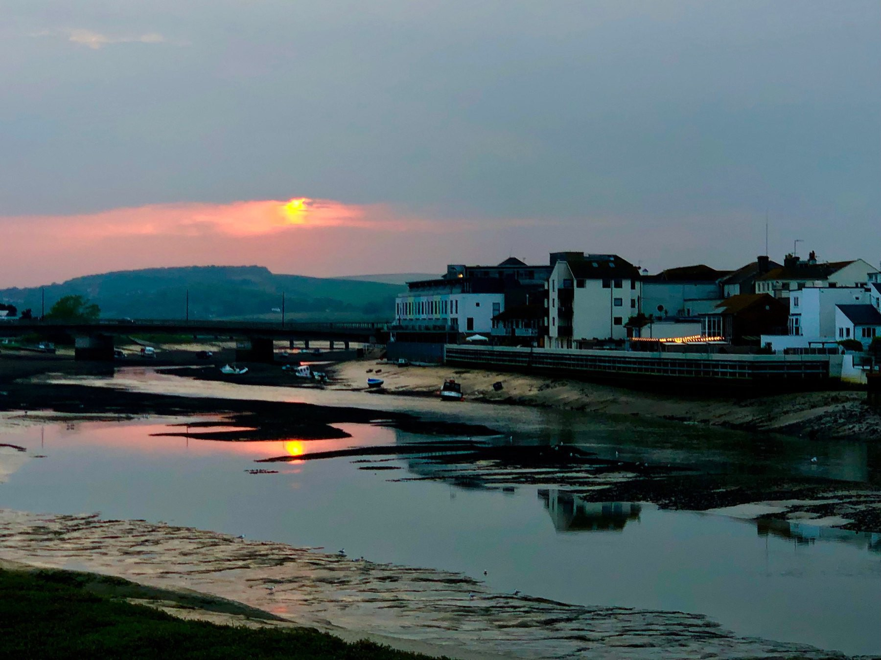 View towards New Shoreham and the South Downs from the Adur Ferry Bridge.