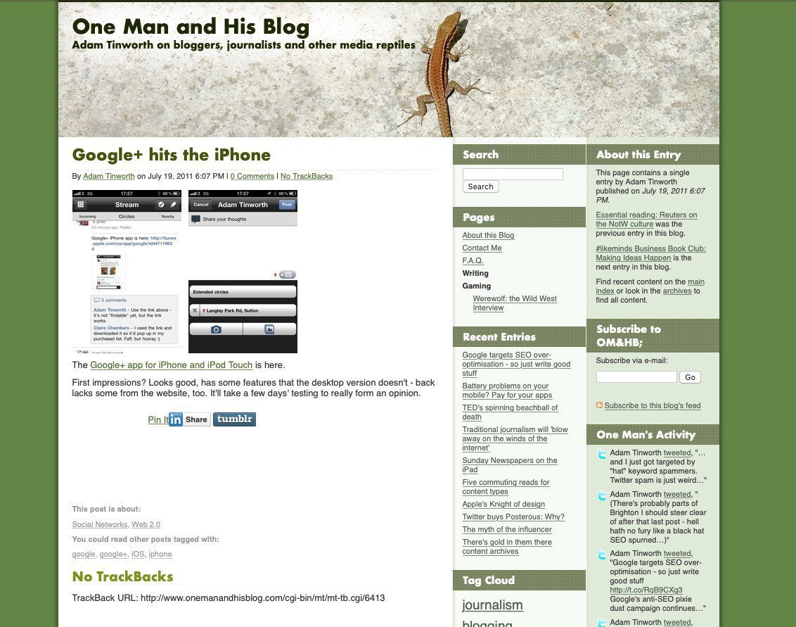 One Man & His Blog in 2011