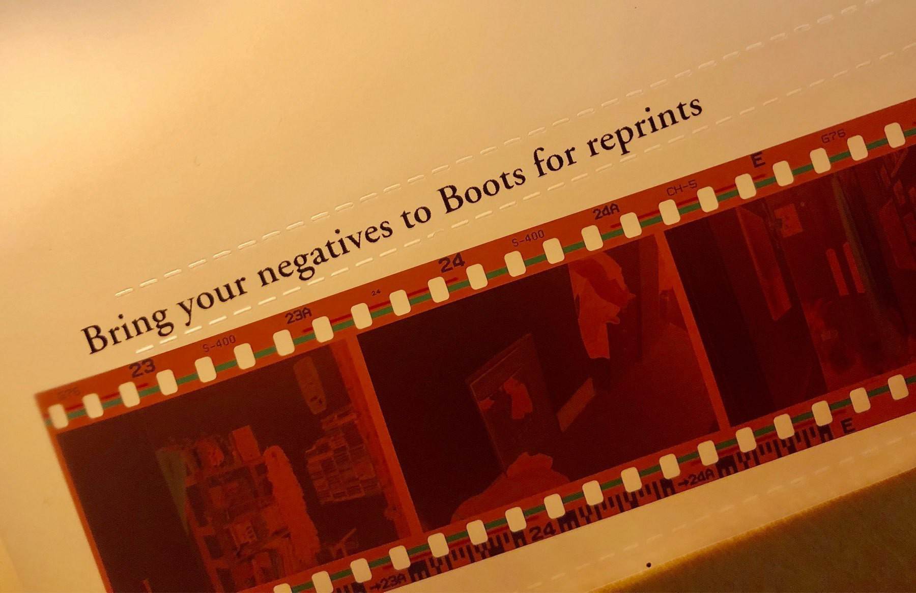 A negative packet, with promos for Boots' reprints service