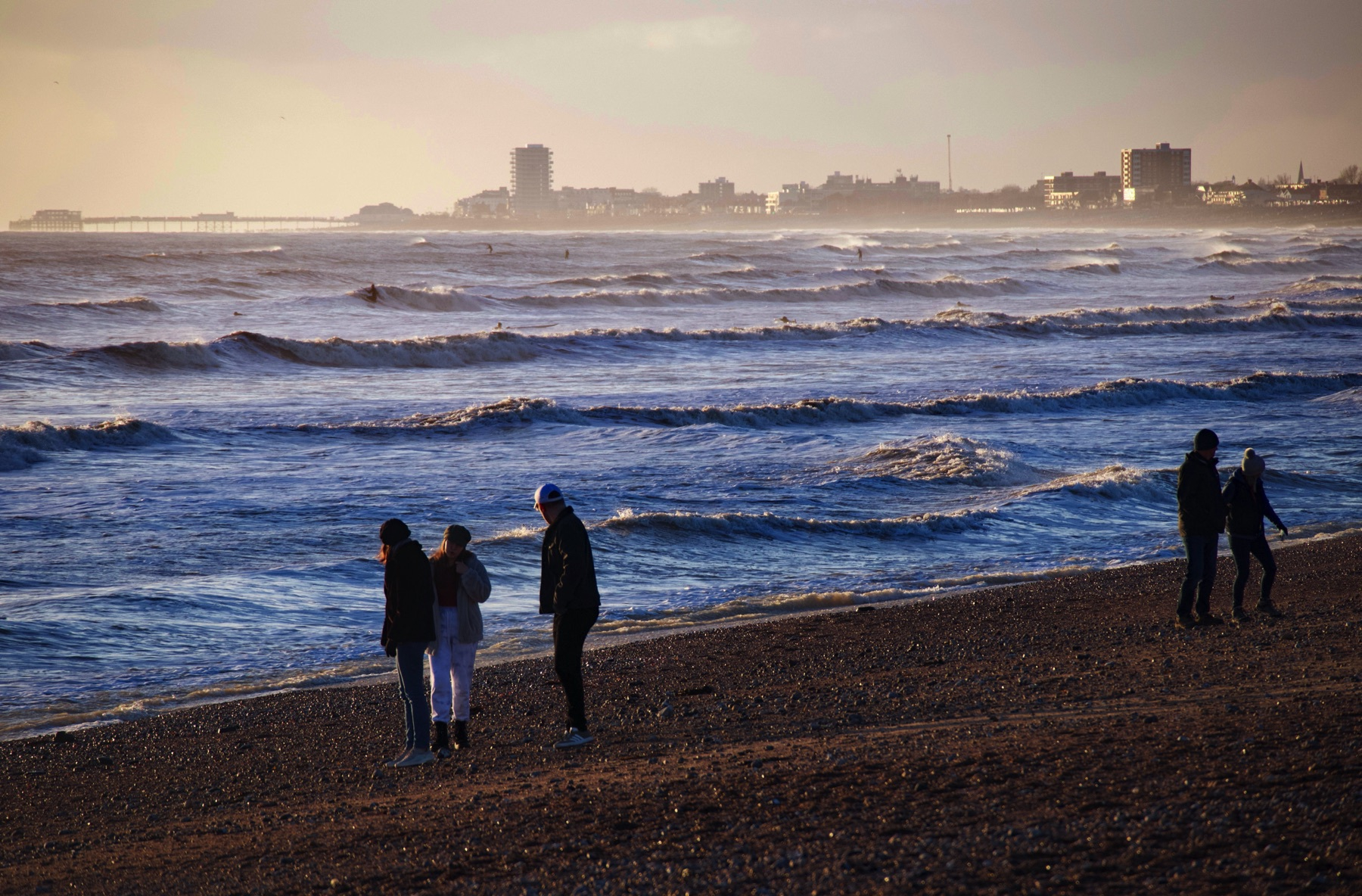 Worthing, as seen from Shoreham Beach on a december afternoon.