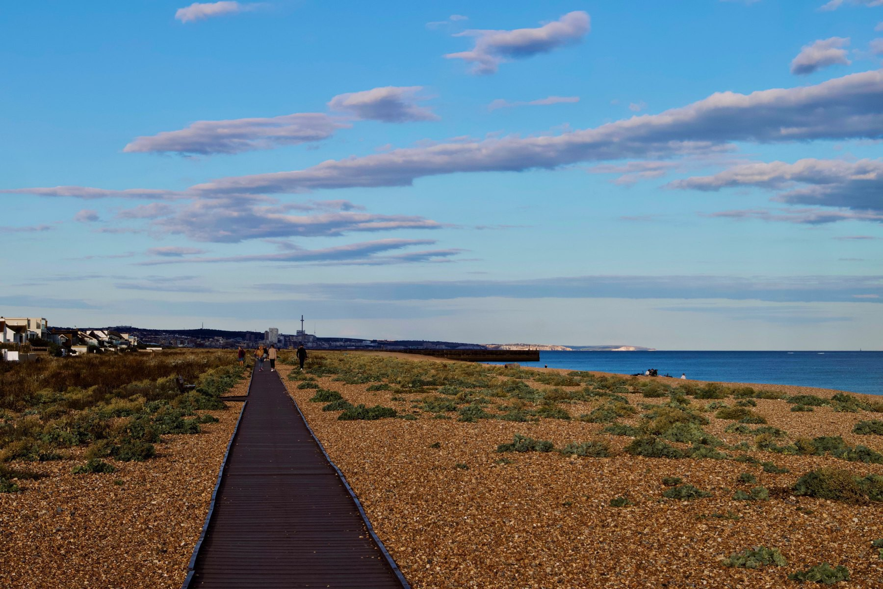The Shoreham Beach boardwalk, looking towards Brighton