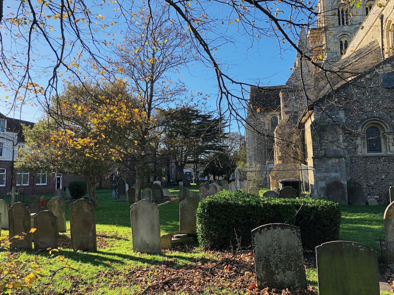 The churchyard of St Mary de Haura.