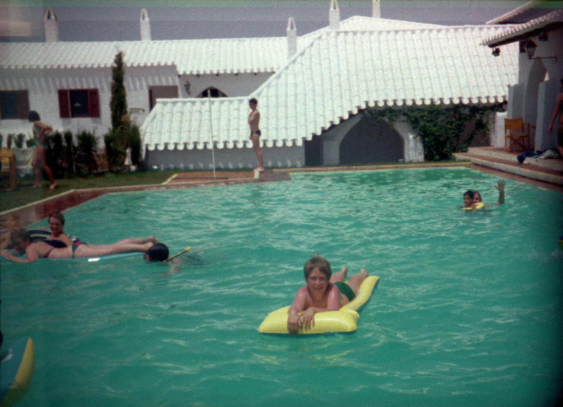 Me, on in a swimming pool, on holiday in Minorca in the 1980s