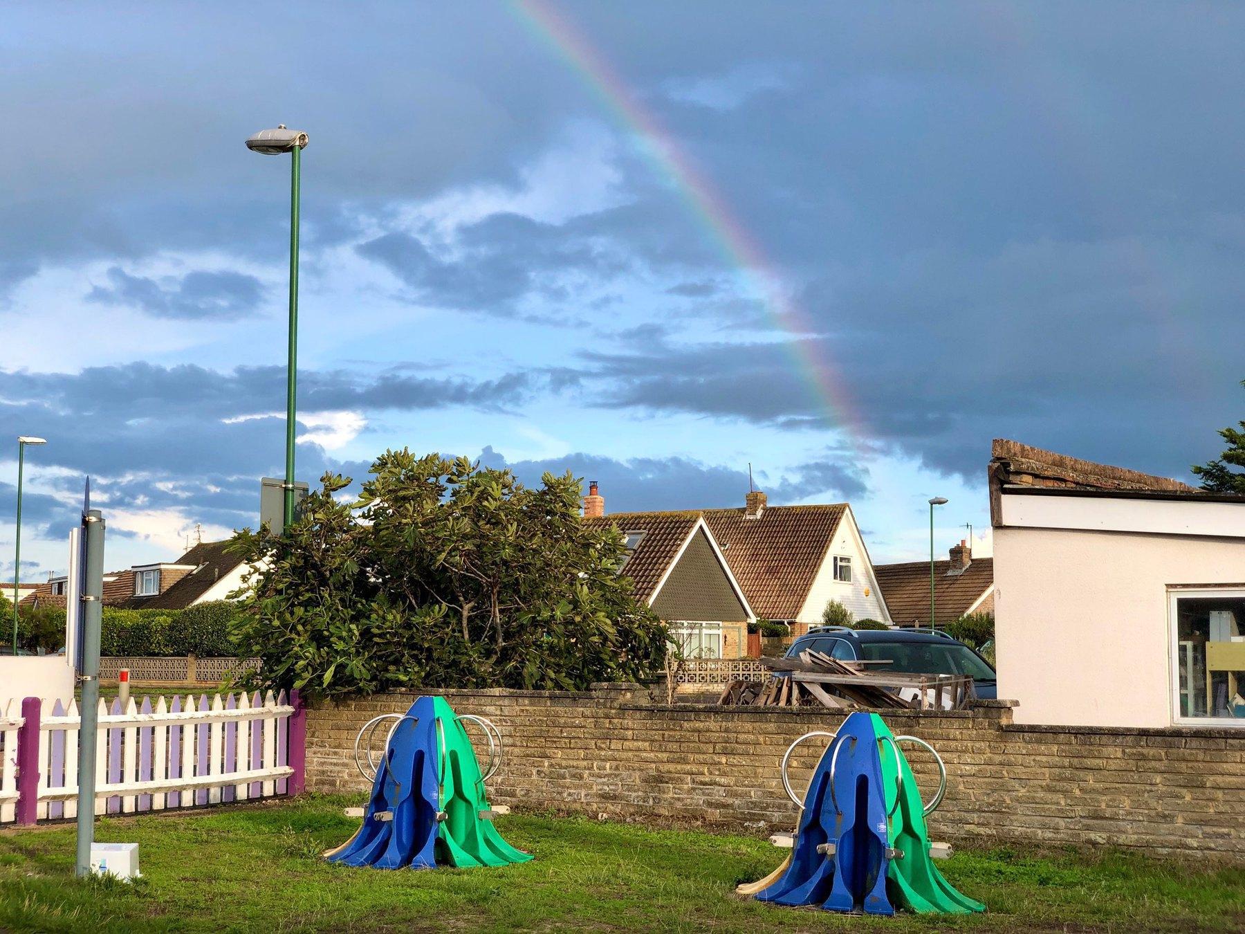 A rainbow over the houses of Shoreham Beach.