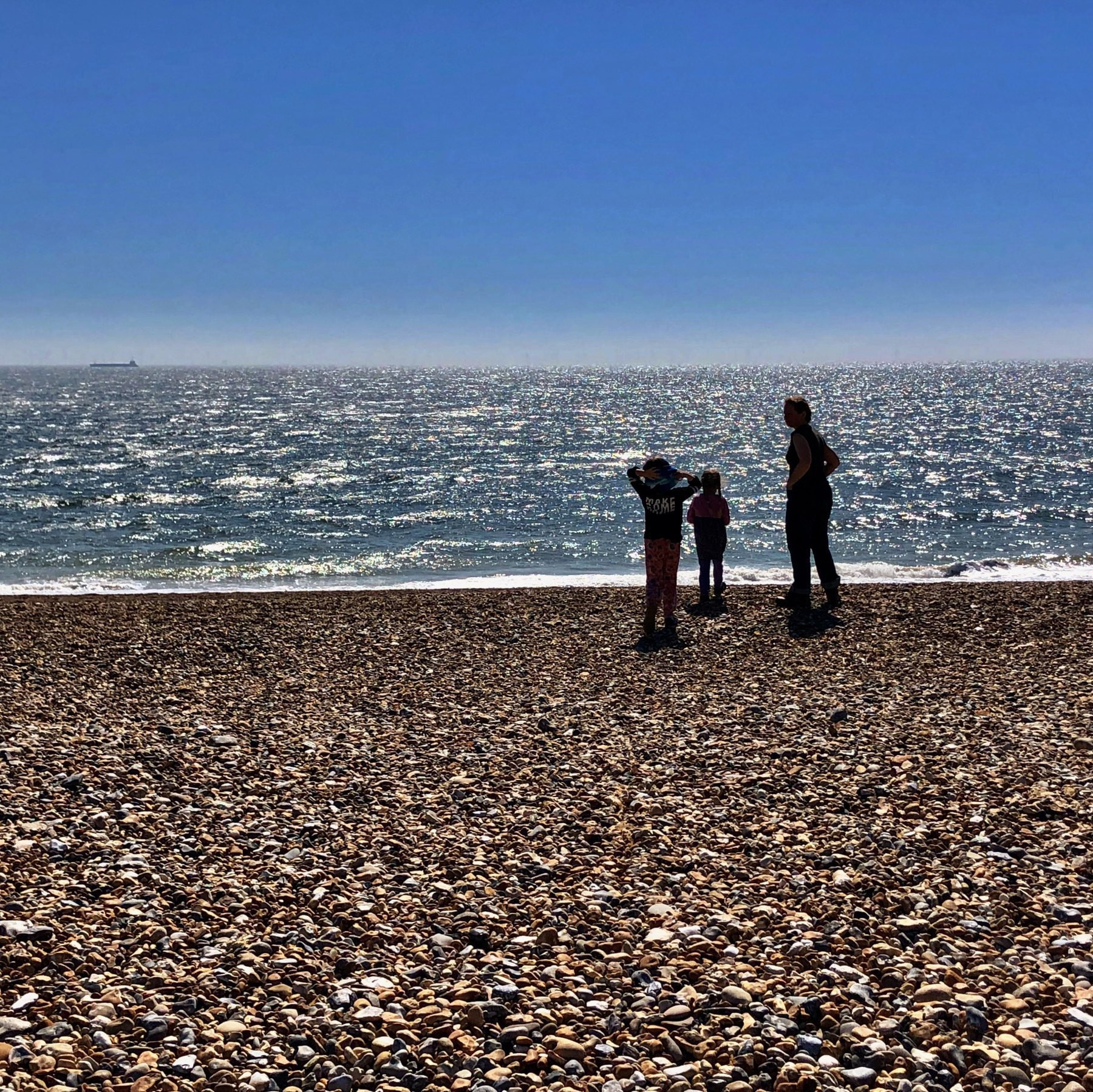 exercising on Shoreham Beach.