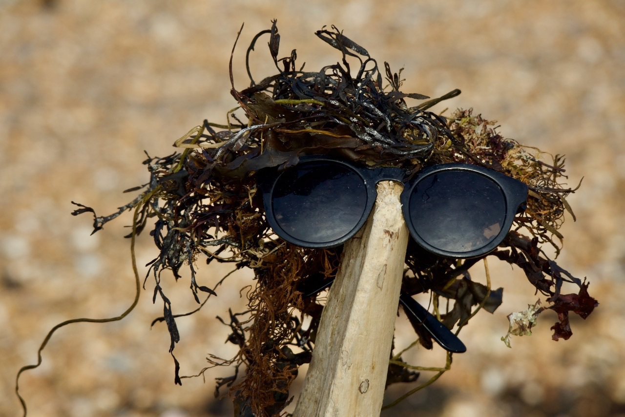 A figure made of seaweed, driftwood and old sunglasses.