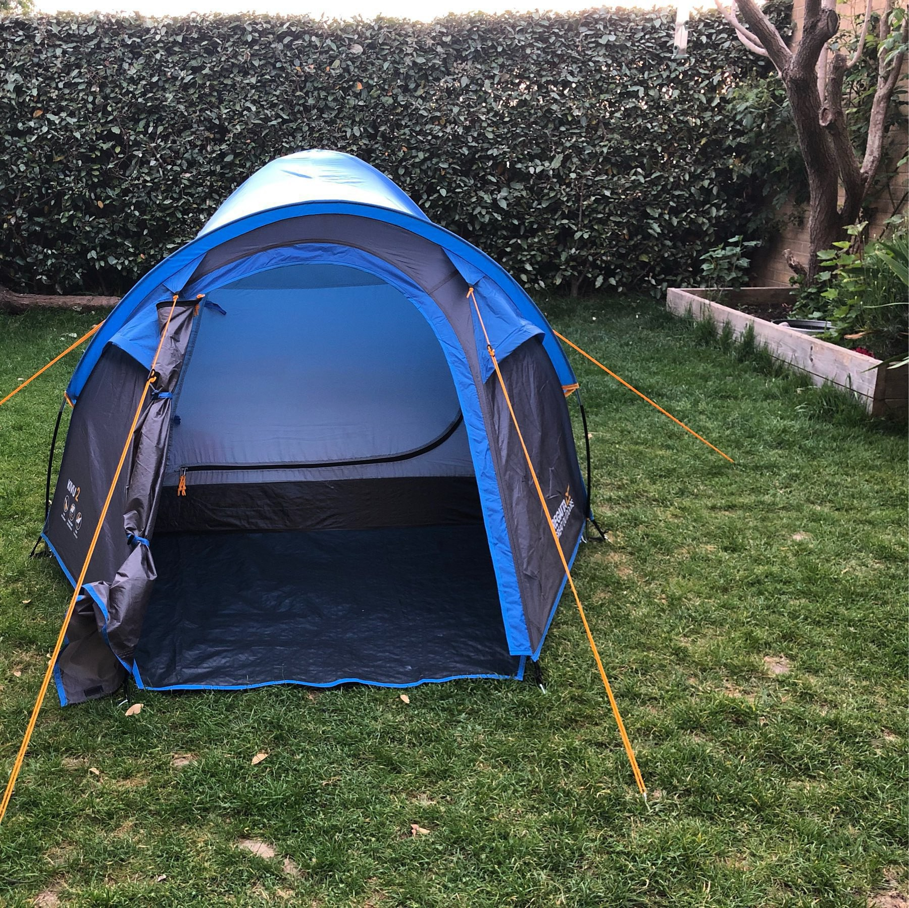 A small tent in our back garden.