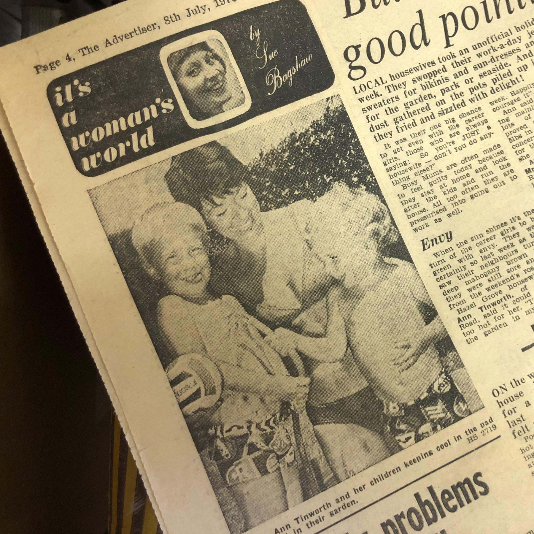 The Tinworth family in the Stockport Advertiser in 1976.