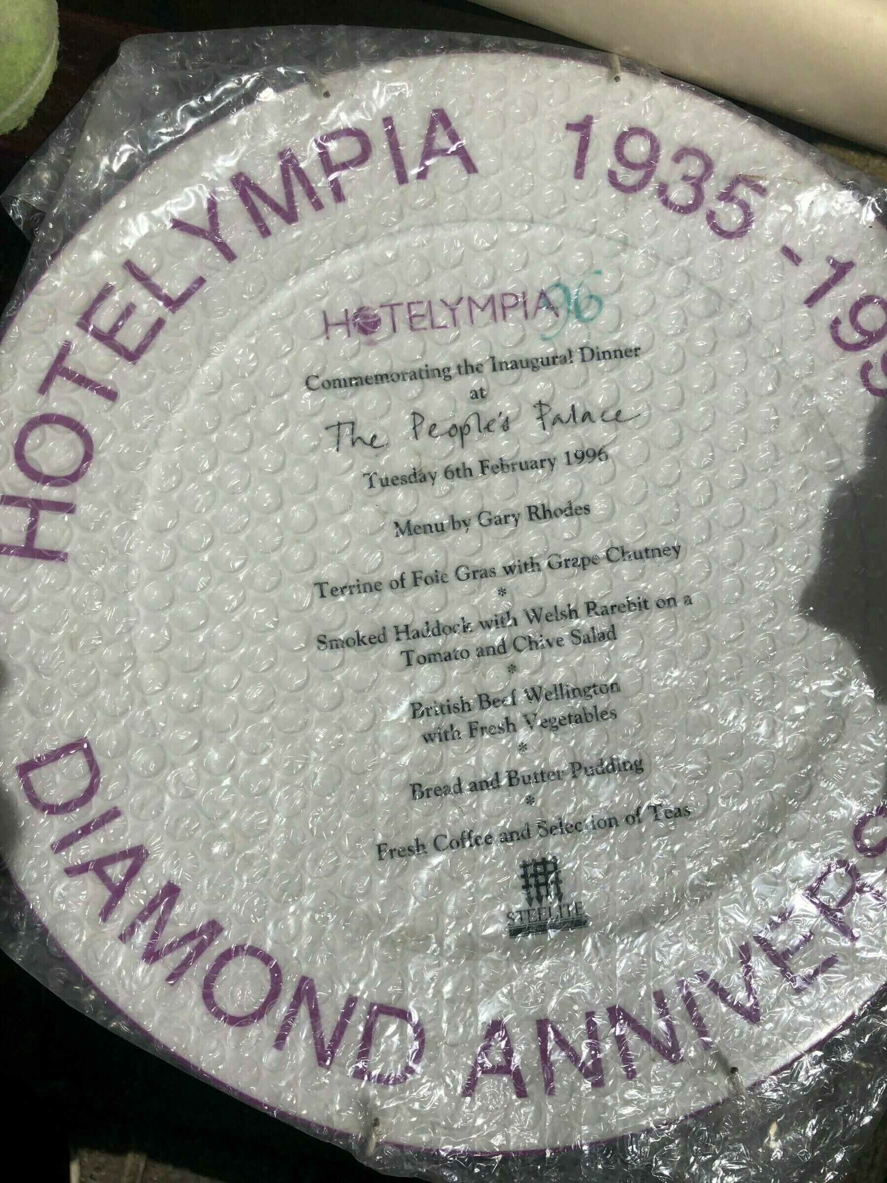A Hotelympia commemorative playe from 1996, featuring a Gary Rhodes meal.