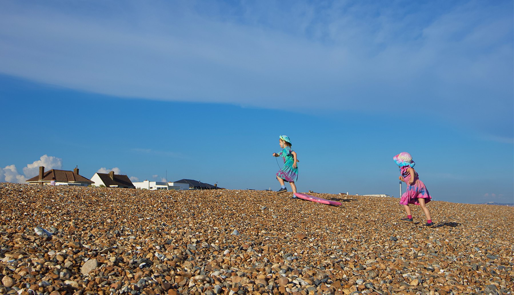 My daughters exploring on the beach.
