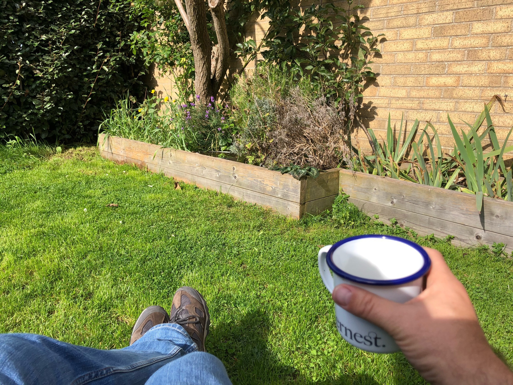 Chilling in the garden with a coffee.