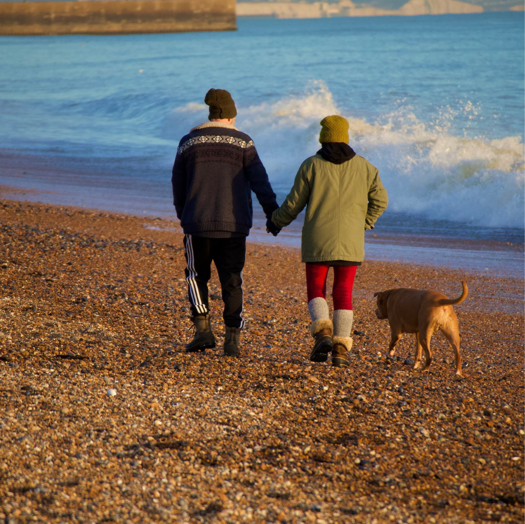 A couple walking on Shoreham Beach with their dog in the late afternoon