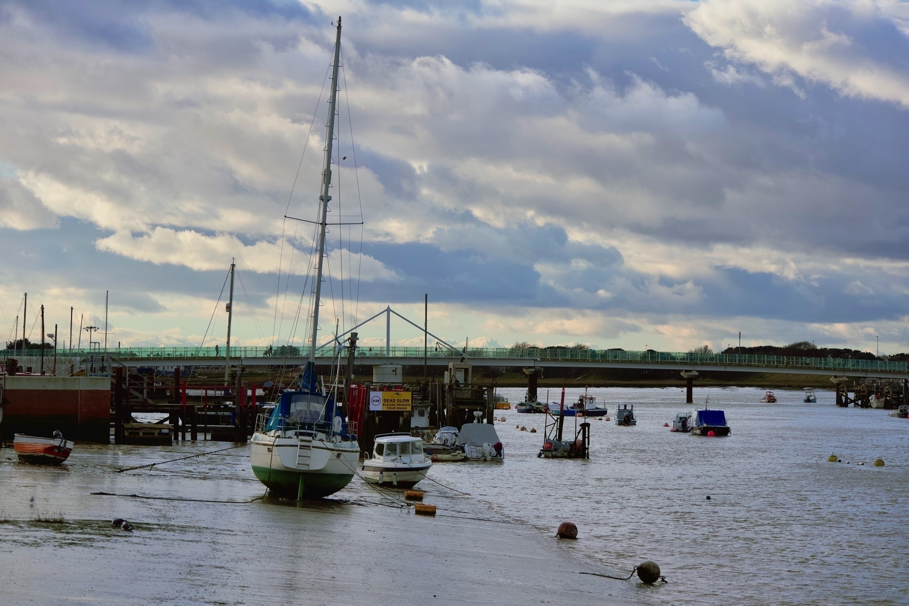 The Adur, at low tide, looking towards the Adur Ferry Bridge.