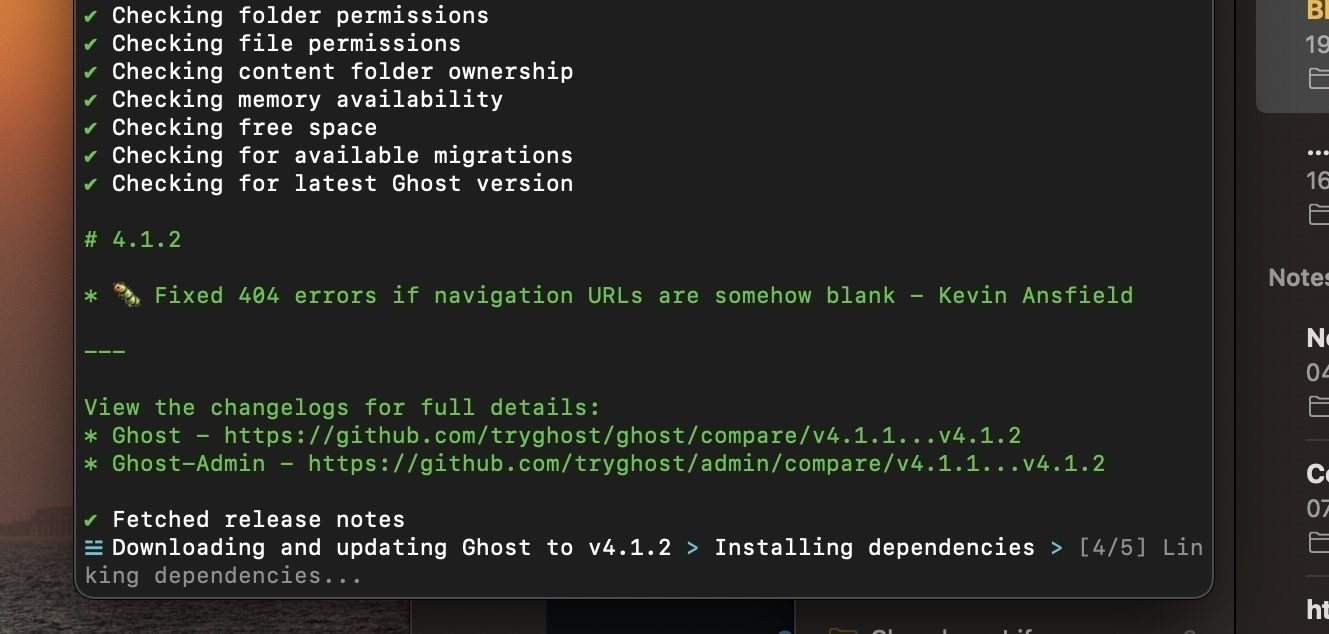 Updating Ghost from the terminal