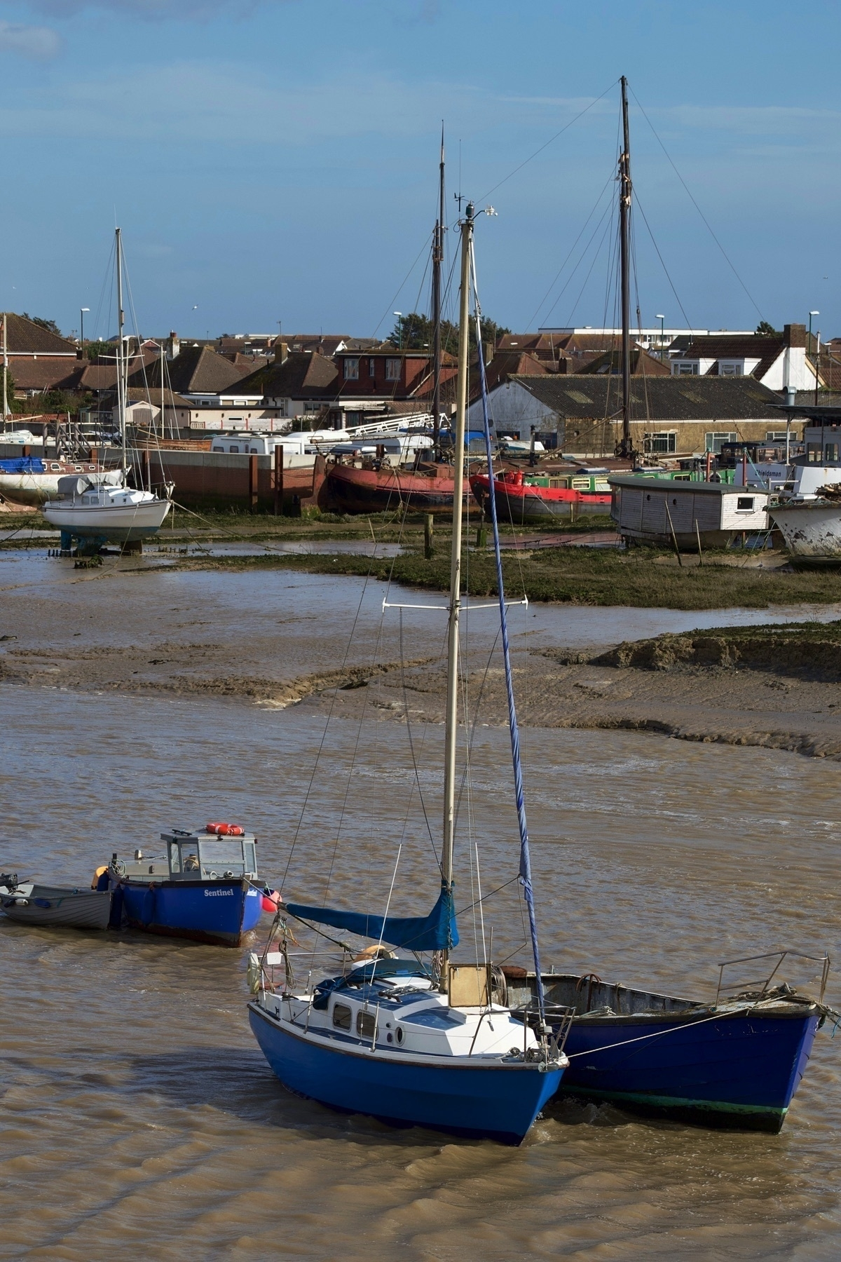 Boats moored in the river Adur.
