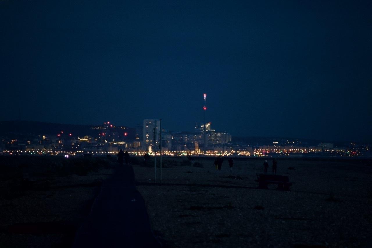 The lights of Brighton, viewed from Shoreham Beach.