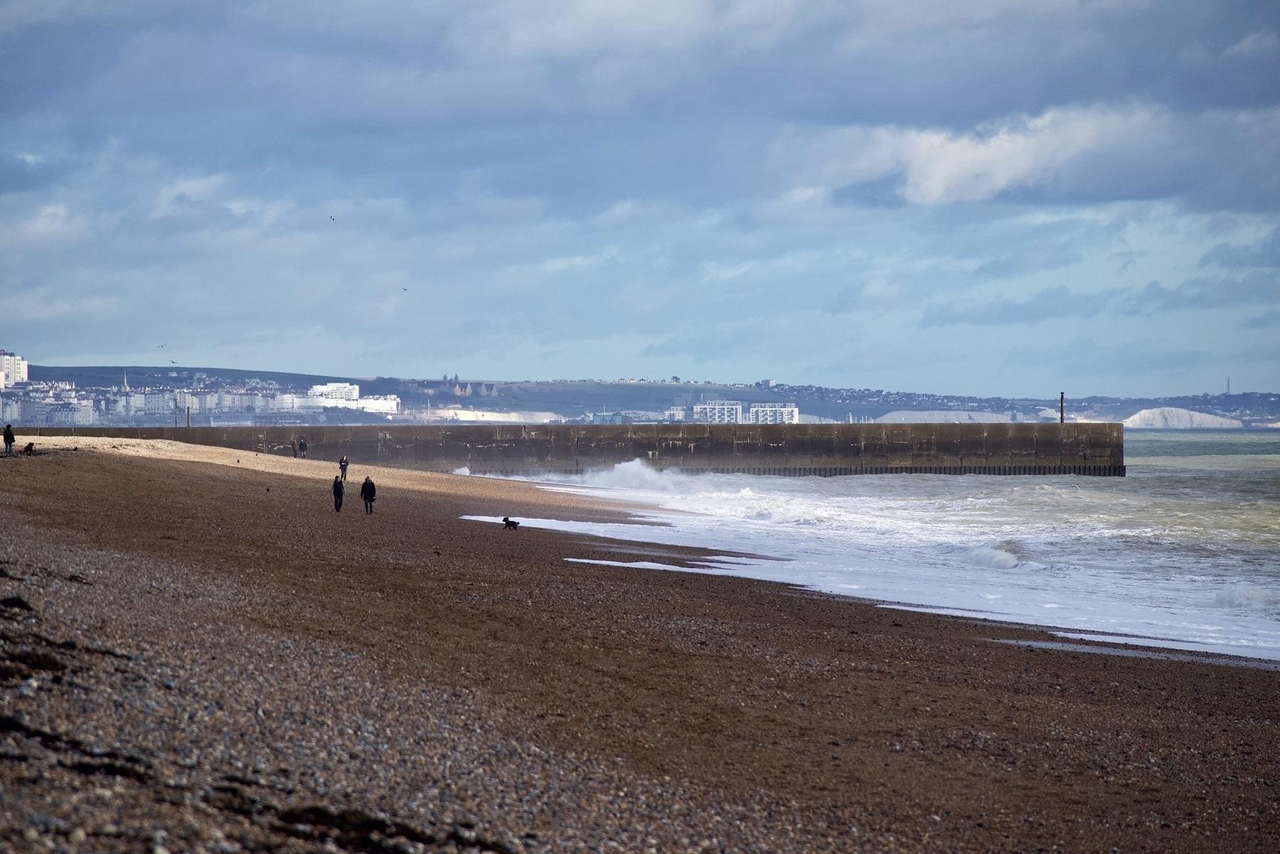 Shoreham Beach, with Brighton in the distance