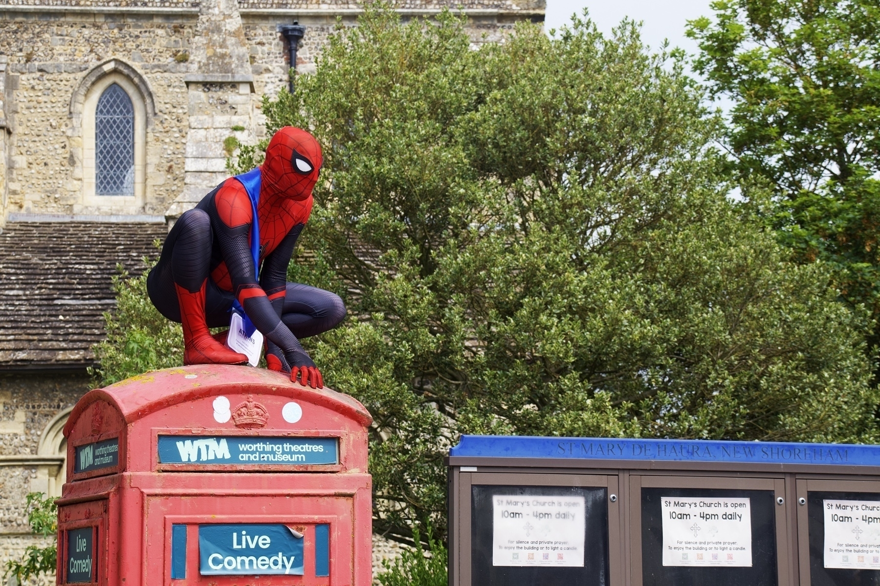 The Sussex Spider-Man on a telephone box