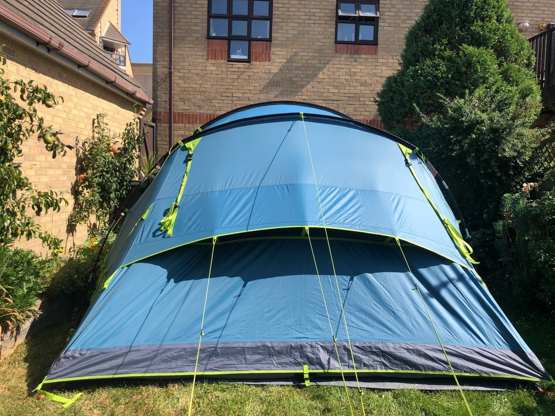 A tent pitched jn a back garden.